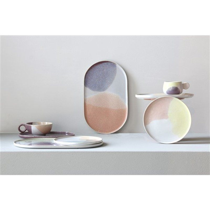 HKliving-collectie gallery ceramics: oval dinner plate green/lilac