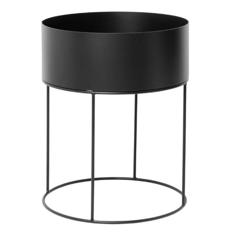 ferm LIVING-collectie Plant Box - Black - Round