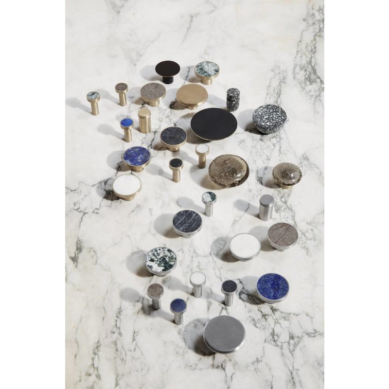 ferm LIVING-collectie Wandhaak Stone zwart marmer (dia 2cm)