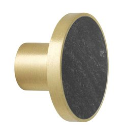 ferm LIVING-collectie Wandhaak Stone zwart marmer (dia 4cm)