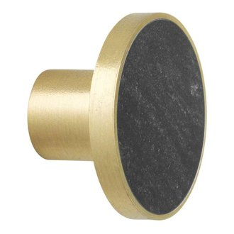 ferm LIVING Wandhaak Stone zwart marmer (dia 4cm)