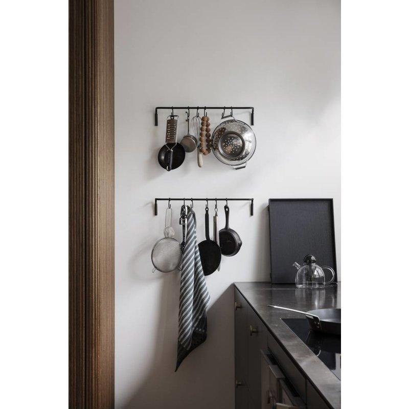 ferm LIVING-collectie Kitchen Rod incl. 6 hooks - Black