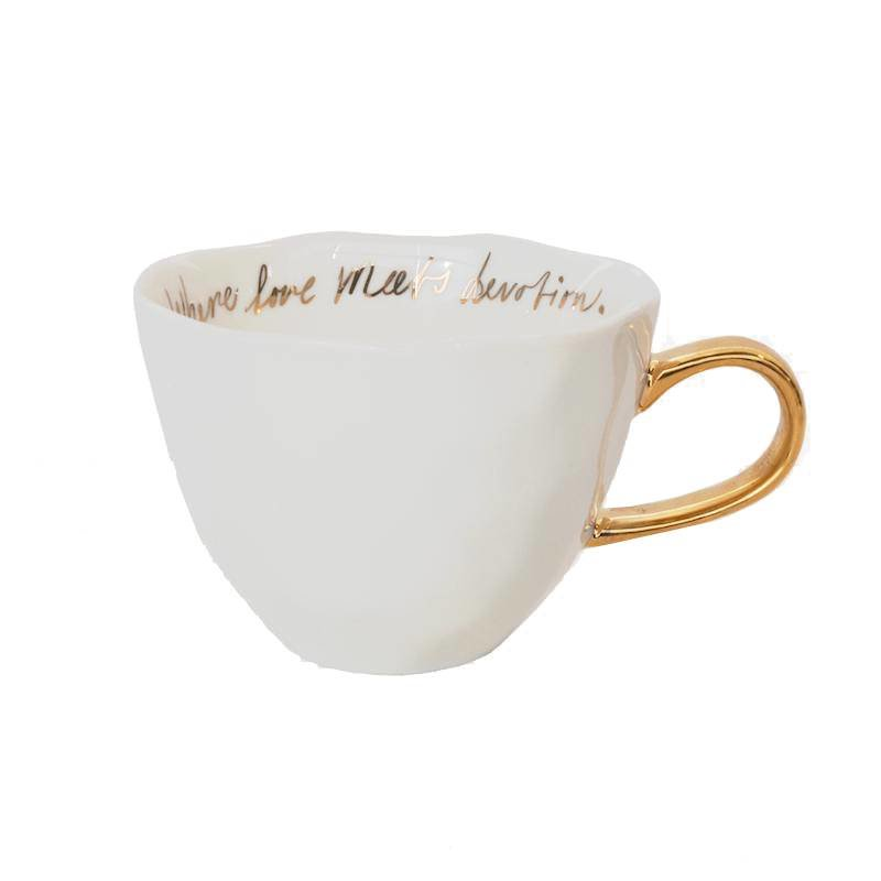 Urban Nature Culture-collectie Good morning cup white with gold text inside