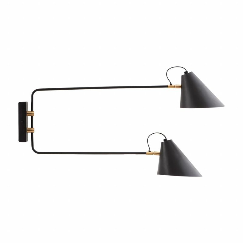 House Doctor-collectie Wall lamp, Club Double, Black/White