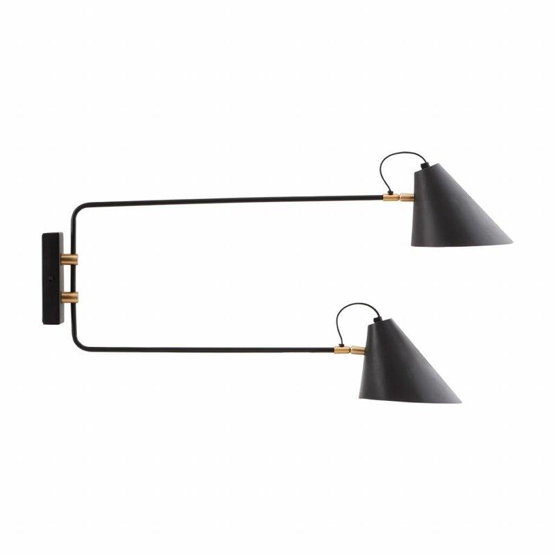 House Doctor-collectie Wandlamp Club Double, Zwart/Wit