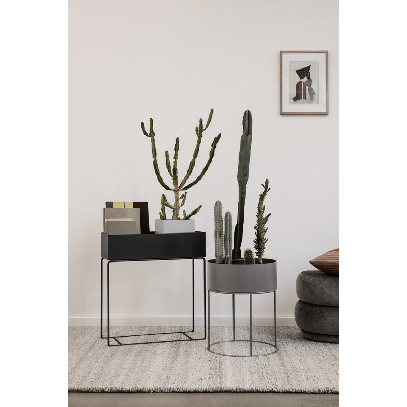 ferm LIVING-collectie Plant Box - Round - Warm Grey