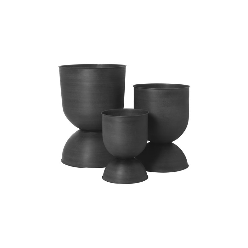 ferm LIVING-collectie Hourglass Pot - Medium - Black/Dark Grey