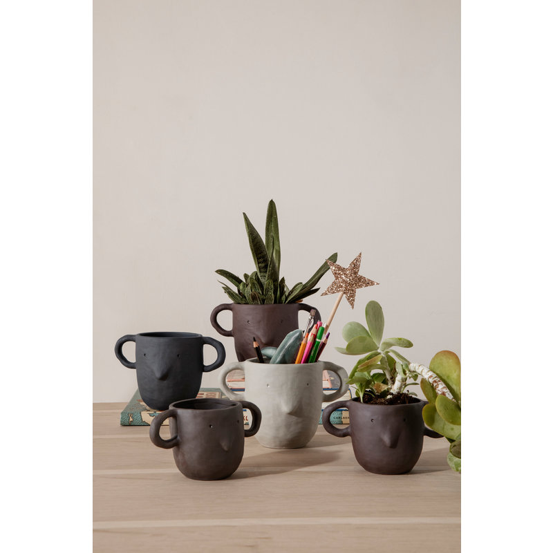 ferm LIVING-collectie Mus Plant Pot Large - Dark Grey