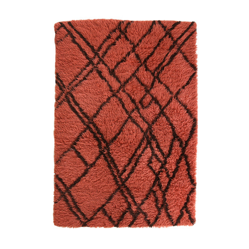 HKliving-collectie woolen berber rug funky red (120x180)