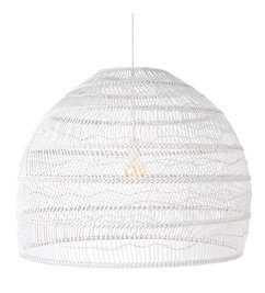 HK living-collectie wicker hanging lamp ball white L