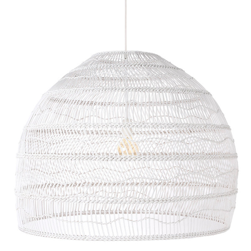 HKliving-collectie wicker hanging lamp ball white L