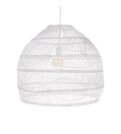 HK living-collectie wicker hanging lamp ball white M