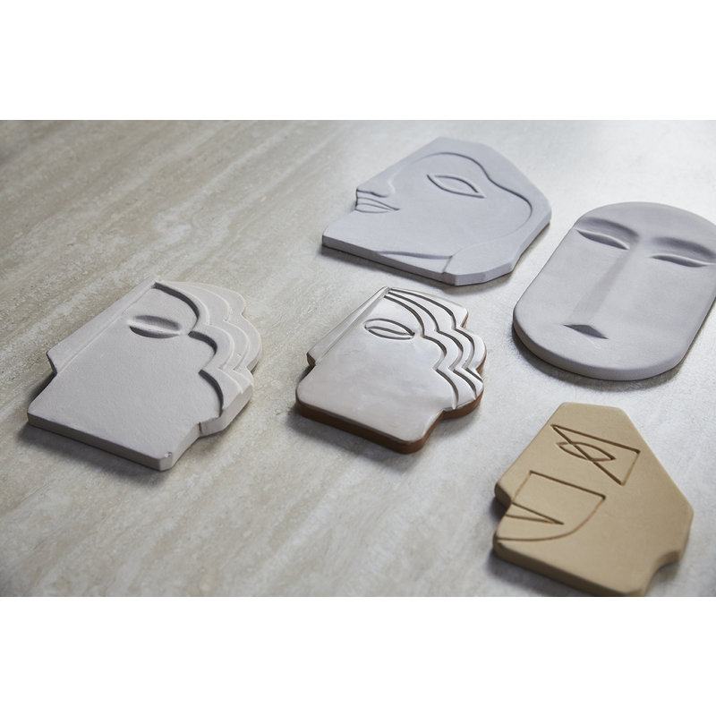 HKliving-collectie HK living face wall ornament S shiny taupe