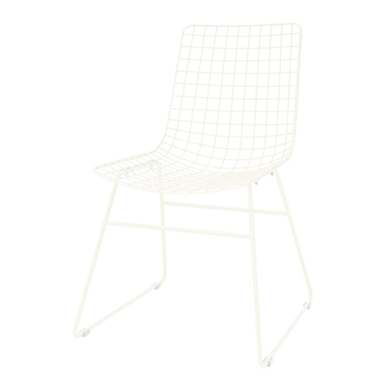 HK living-collectie metal wire chair crème