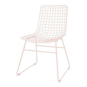 HK living metal wire chair peach