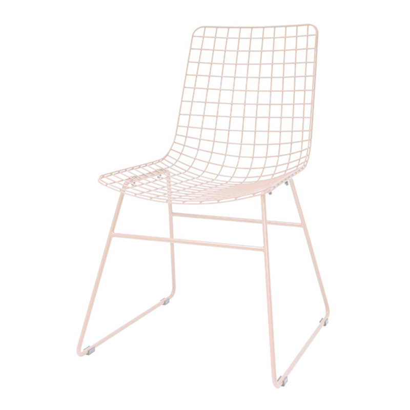 HK living-collectie metal wire chair peach