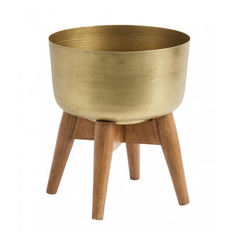 Nordal Planter on stand, small, brass/wood