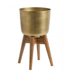 Nordal-collectie Planter on stand, medium, brass/wood
