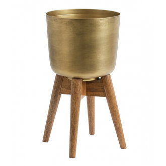 Nordal Planter on stand, medium, brass/wood