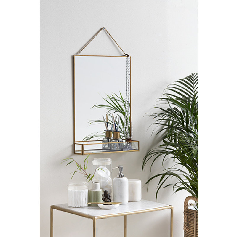 Nordal-collectie Mirror w/shelf, golden edge