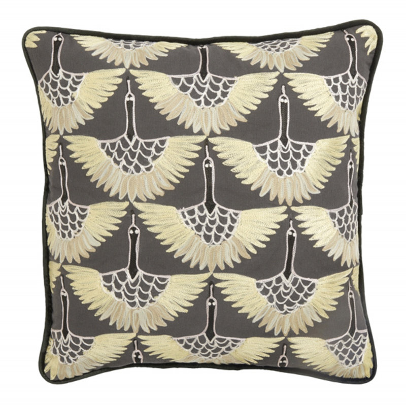Nordal-collectie Cushion cover, yellow bird embroidery