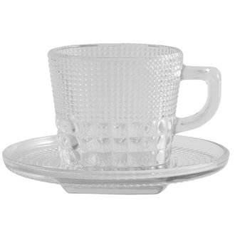 Nordal Glass cup w/saucer, clear glass