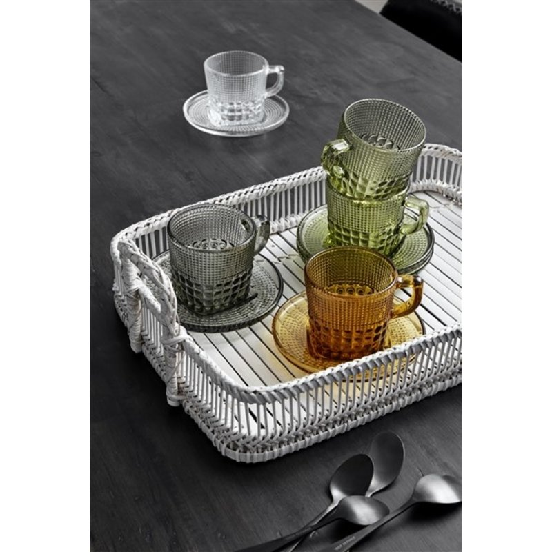 Nordal-collectie Glass cup w/saucer, smoke color