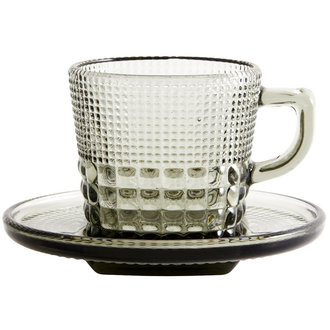 Nordal Glass cup w/saucer, smoke color