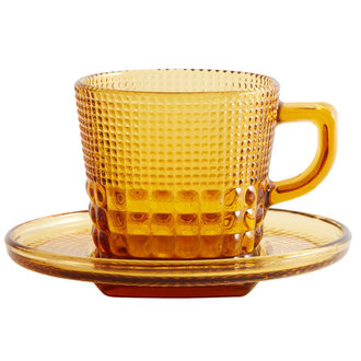 Nordal Glass cup w/saucer, amber color