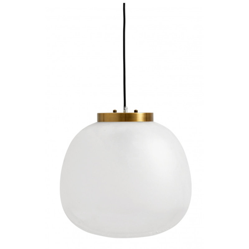 Nordal-collectie Hanglamp wit glas -  goud dia 40 cm