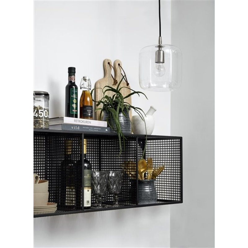 Nordal-collectie WIRE box, 3 shelves stand/wall, black,