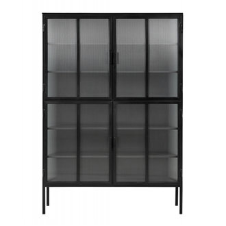 Nordal Metalen kast zwart - 4 groovy glazen deuren