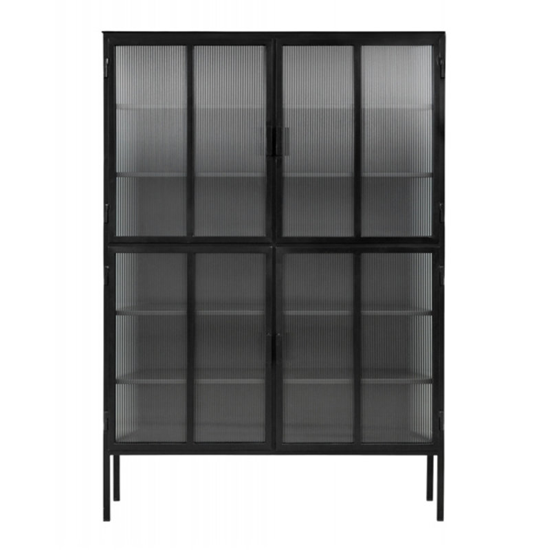 Nordal-collectie Black cabinet, 4 doors, groovy glass