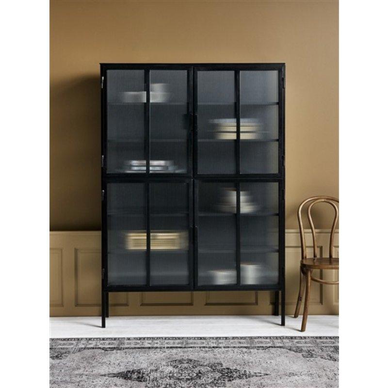 Nordal-collectie Metalen kast zwart - 4 groovy glazen deuren