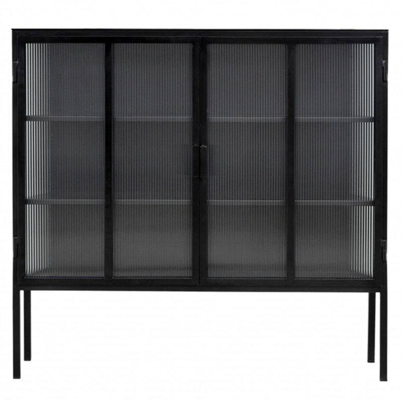 Nordal-collectie Metalen buffetkast  - 2 groovy glazen deuren
