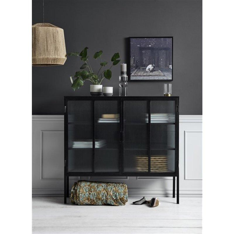 Nordal-collectie Black buffet, 2 doors, groovy glass