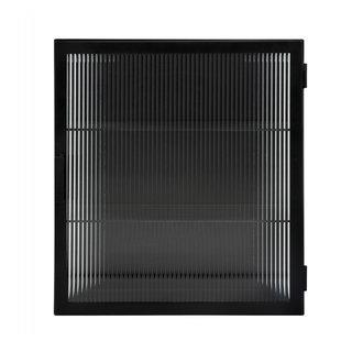 Nordal Wall cabinet, black, 1 door, groovy glas