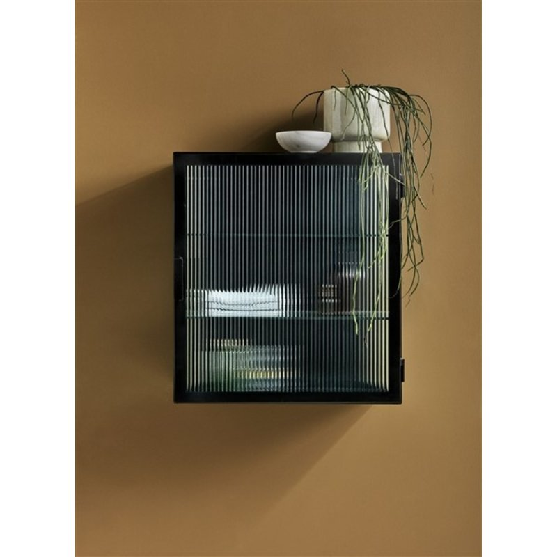 Nordal-collectie Wall cabinet, black, 1 door, groovy glas