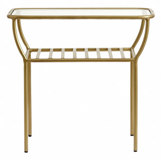 Nordal Side table, golden, w/glass plate, bars