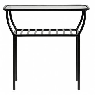 Nordal Side table, black, w/glass plate, bars