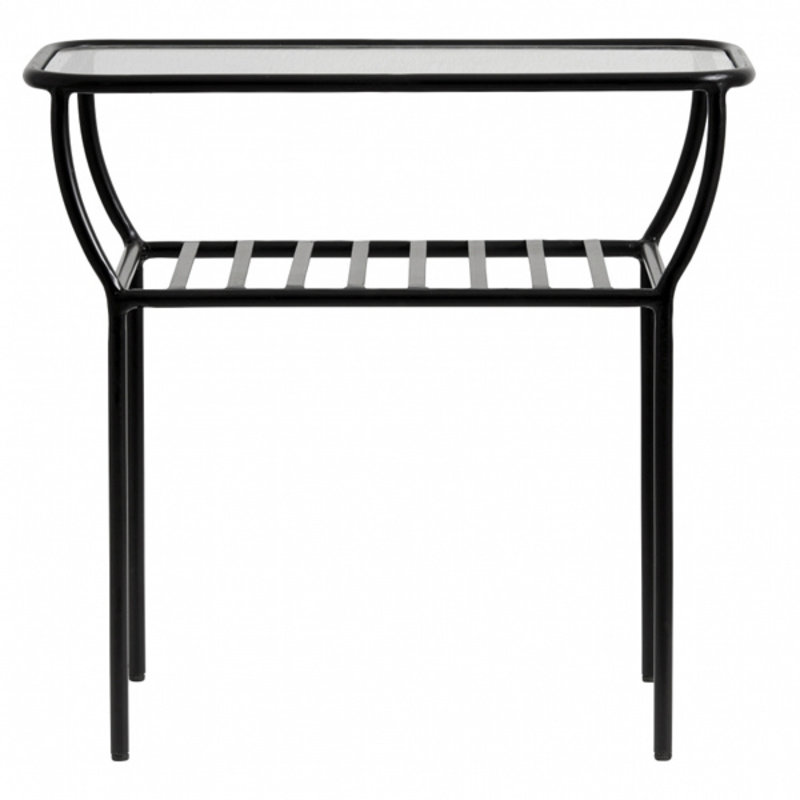 Nordal-collectie Side table, black, w/glass plate, bars