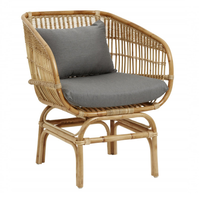 Nordal-collectie Rattan armchair w/grey seatpads, natural