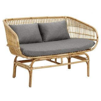 Nordal Rattan sofa w/grey seat pads, natural