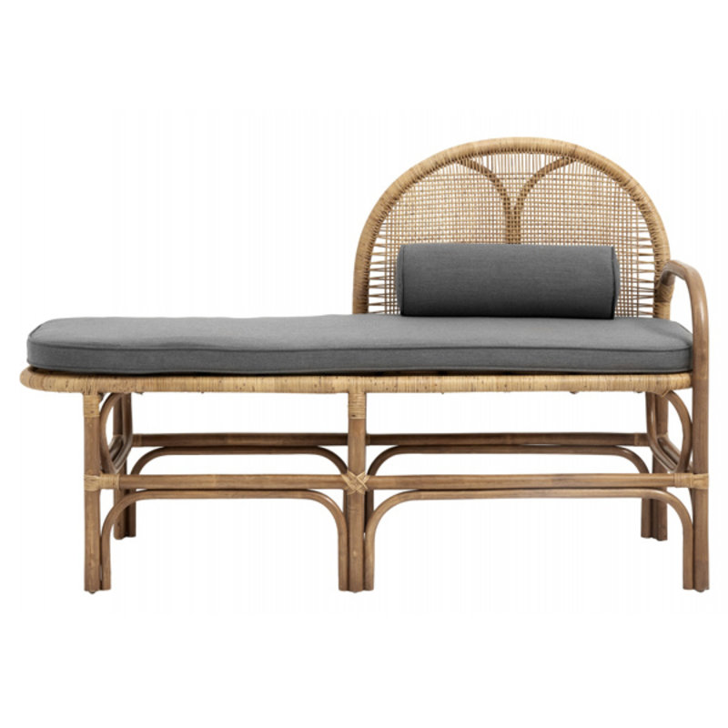 Nordal-collectie Bench w/mattress, rattan/weaving, nature