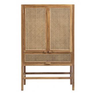Nordal Cabinet, teak, open mesh weaving