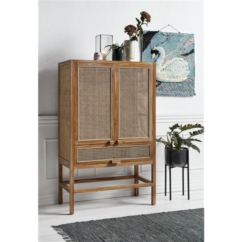 Nordal-collectie Cabinet, teak, open mesh weaving