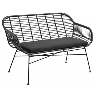 Nordal Garden bench w. cushion, black