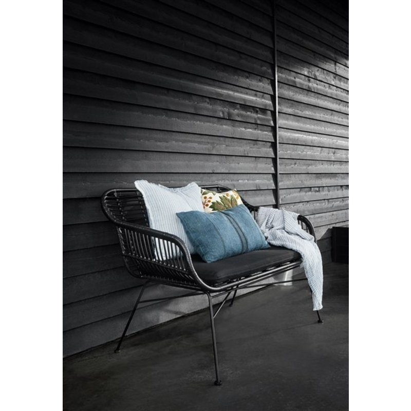 Nordal-collectie Garden bench w. cushion, black