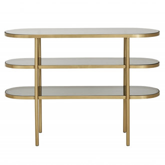 Nordal Ovale console tafel goud - zwart glas