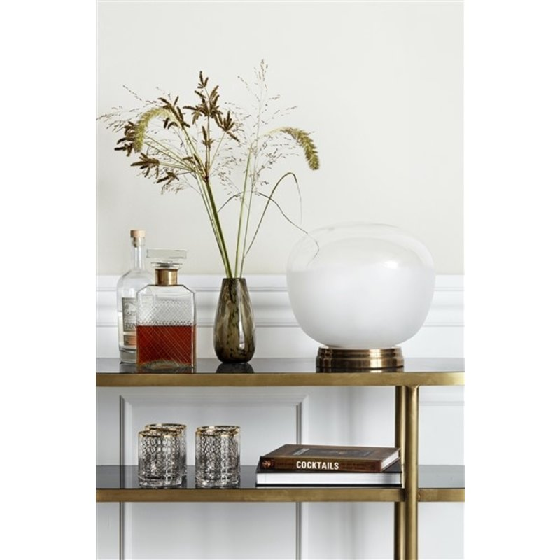 Nordal-collectie Ovale console tafel goud - zwart glas